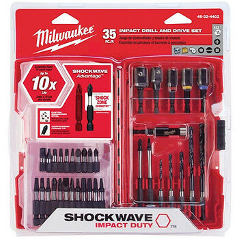 Milwaukee 35pc Shockwave Impact driver / drill Bit Set with adapters #48-32-4402