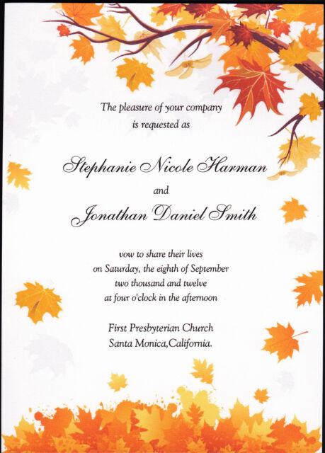 100 Personalized Custom Fall Autumn 1 Wedding Invitations Set   RSVP Cards