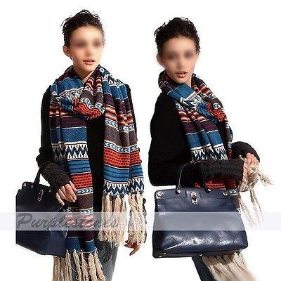 Colorful Women's Bohemian Knitting Jacquard Tassel Long muffler Shawl Wrap Scarf