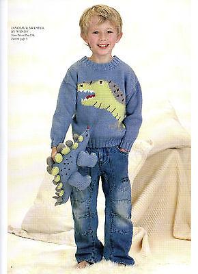 Boys dinosaur jumper knitting pattern  99p