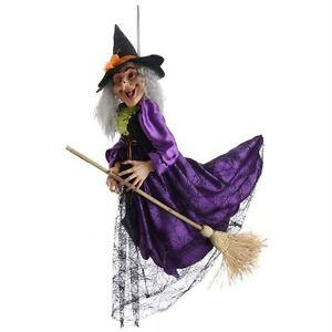 Large witch 45 inch flying on broom halloween decoration for 3 witches halloween decoration