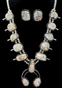 Amazing Handmade Navajo Boulder Turquoise Squash Blossom Set Sterling Silver