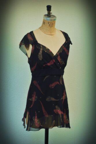 Sudio M Size S Sheer Silk Feathers Mini Dress