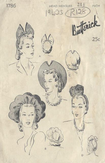 "1940s Vintage Sewing Pattern HAT S21 1/2"" (R128)"