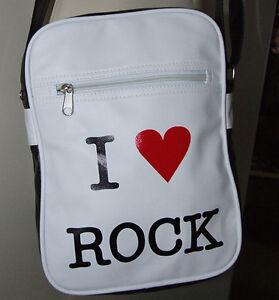 New-Wave-70s-80s-J-Japan-I-Heart-Love-Rock-VEGAN-Black-White-Messenger-Bag-Purse