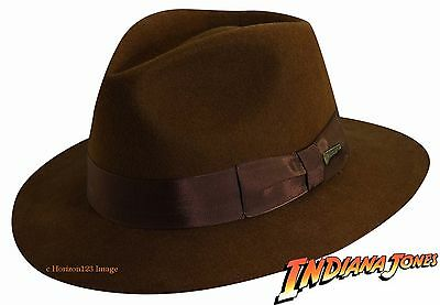 OFFICIALLY LICENSED The Real INDIANA JONES Firm Wool Felt Fedora HAT-Brown-XL