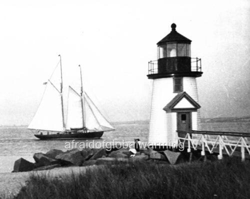 Nantucket MA Brant Point Lighthouse 1939 Photo Sailboat