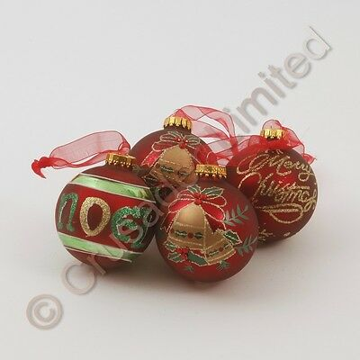 Red & Gold  Set of 12 Glass Baubles Tree Decorations  NEW  18329