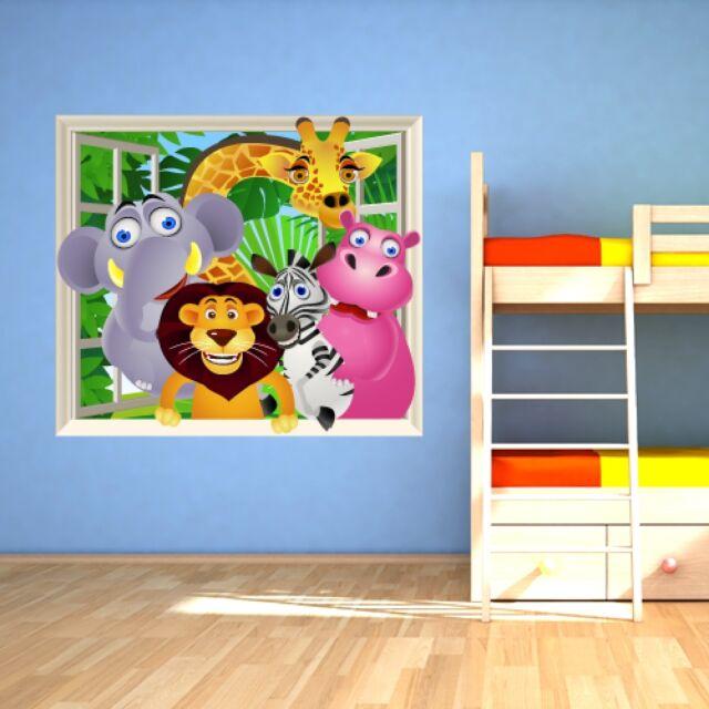 FS0029 Wall stickers Adesivi Murali Finestra giungla 120x100cm