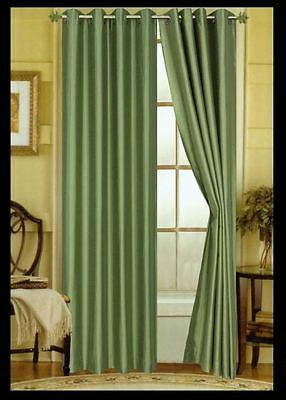 "SET OF 2 FAUX SILK GROMMET TOP CURTAINS - 84"" LONG WINDOW CURTAIN PANEL"