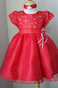 Baby girl red birthday pageant party dress with hair band z 6m ebay