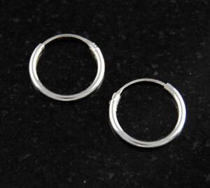 Sterling-Silver-1-2mm-x-12mm-Endless-Hoop-Earrings-Round-925-Jewelry
