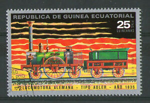 1972 GUINEA EQUITORIAL FIRST GERMAN LOCOMOTIVE COMMEMORATIVE STAMP VFU