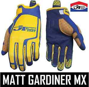JT-RACING-FLEX-FEEL-MOTOCROSS-MX-MENS-GLOVES-BLUE-YELLOW-RETRO-EVO-TWIN-SHOCK