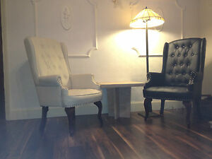 Chesterfield-Queen-Anne-Style-High-Back-Chair-Leather-Armchair-Wingback-Fireside