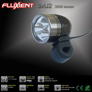 fluxient 3000 lumen 3xu2 led rechargeable extreme mountain bike bicycle light ebay. Black Bedroom Furniture Sets. Home Design Ideas