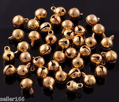 100 Pcs 6mm Gold plated Jingle Bells Beads Christmas Charms findings pendants