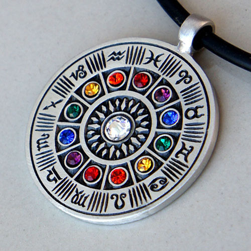 Wheel of Zodiac 12 signs Astrology Horoscope Astronomy W Crystal Pewter Pendant