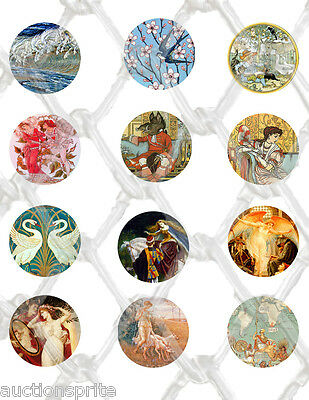 12  Walter Crane Arts & Crafts Images 50mm Round Collage Paper -Glass Tile