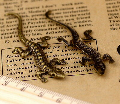 58x21mm Antique Bronze Brass Large Filigree Lizard Charm Finding b86b (2pcs)