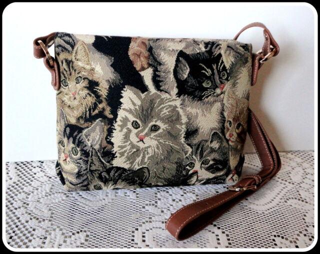 "PURRFECT PURSE Tapestry  Handbag  Bag 11""W x 8""H  Cat Kitty"