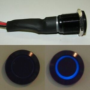 Black-Flush-Mount-Blue-LED-Lighted-On-Off-Push-Button-Switch-for-Boats
