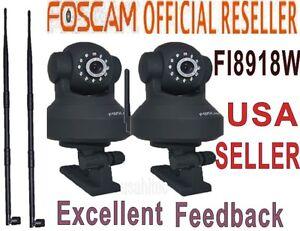 2x-Foscam-FI8918W-Wireless-IP-Camera-PT-with-9dbi-Antenna-Stronger-WiFi-Singal