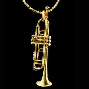 Trumpet miniature scaled replica pendant necklace 24k gold for Is gold plated jewelry worth anything