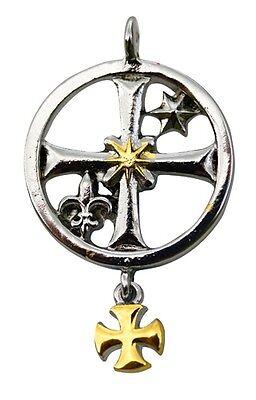 Talisman Knights Templar Cross Pewter Seal Ritual Jewelry Heraldic Good Luck