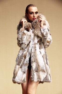 Women Fashion Real Rabbit Fur Coat Jackets With Raccoon Fur Collar QD5773