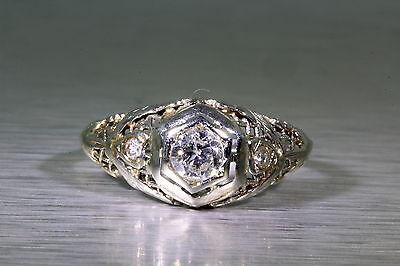 Antique .30ct VS H 3 Diamond 18k White Gold Filigree Ring