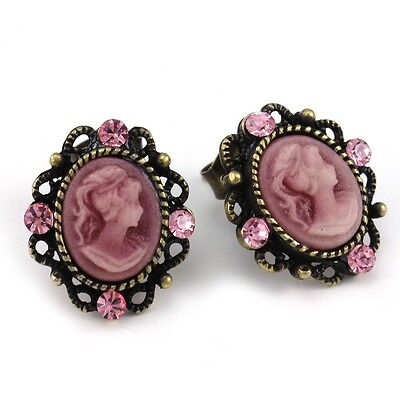 Hot Pink Romantic Cameo Stud Post Pierced Earrings Antique Vintage Style Charms