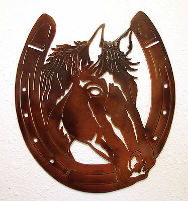 BAY HORSE HORSESHOE WESTERN METAL ART COWBOY RUSTIC LODGE CABIN WALL DECOR NEW