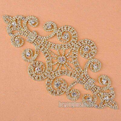 Clear Diamante Rhinestone Gold Applique Bridal Dress Costume Sewing Trim Craft