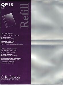 Deluxe Recipe Keeper Pocket Page Refills * CR Gibson QP13 * 20/pack NEW!