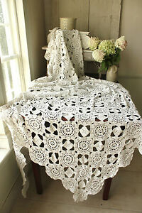 Vintage-French-crochet-bed-cover-coverlet-bedspread-lace-handmade-textile
