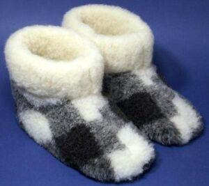 100% pure sheep Wool SLIPPERS New genuine felt merino Boots All Men's sizes