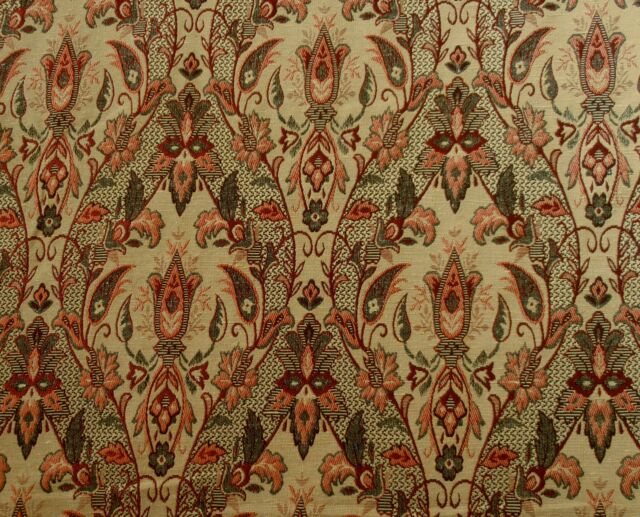 ST D15 RED GOLD FLORAL TRELLIS DESIGN TAPESTRY CURTAIN BLINDS CUSHION FABRIC
