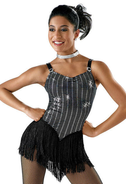 Dance Skate Costume Jazz Tap Twirl Strut 5653 Child 4 6 8 S M Fringe Silver
