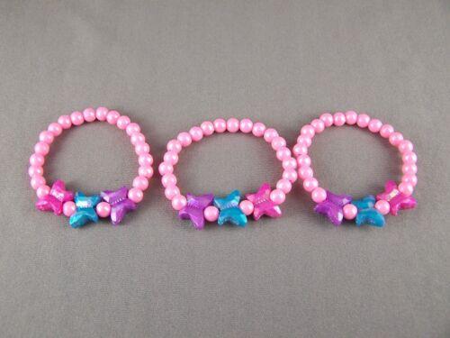 Pink faux pearl set 3 kids girls childrens plastic bead bracelet stretch
