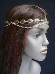 NEW-WOMEN-SHINY-GOLD-LEAVES-HEAD-METAL-CHAIN-FASHION-JEWELRY-GRECIAN-CIRCLET