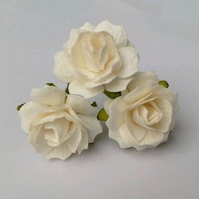 100 White Mulberry Paper Rose Flower /scrapbooking/ dai2.5cm PF_RS250WH