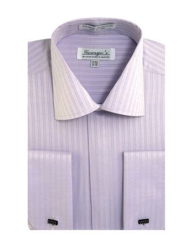 New Men/'s Fancy Tone on Tone Stripe Dress Shirt French Cuff Long Sleeve SG30