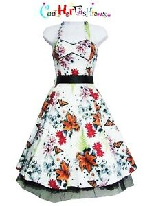 H-amp-R-Fab-50-039-s-Floral-Skully-Dress-Swing-rockabilly-pinup-punk-Vintage-style