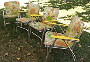 1960-039-s-70-039-s-4-Finkel-Lawn-Patio-Chairs-Mid-Century-Retro-Modern-Flower-Power-Pad
