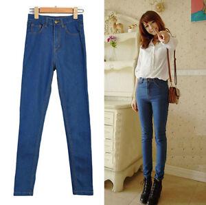 Womens-Vintage-Blue-High-Waisted-Elastic-Skinny-Legging-Denim-Fitted-Jeans-S-M-L