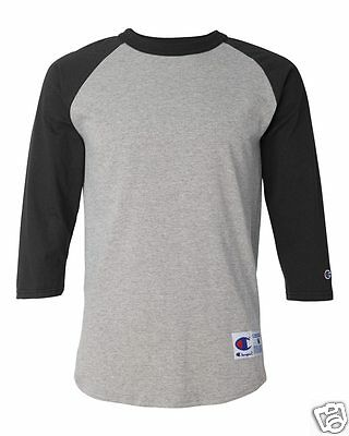 Champion Mens S-3XL Tagless Tee ¾ Sleeve Baseball 6.1 ounce Raglan T-Shirt T1397