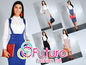 High-Waist-Elegant-Trendy-Skirt-with-Buttons-Braces-Sizes-UK-8-14-FA37