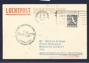 46754-KLM-FF-Amsterdam-Monrovia-Liberia-5-11-60-Karte-ab-Canada-R