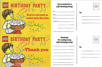 Lego Max Birthday Cake Party Invitation Invite Thank you Set Single (1) of Each